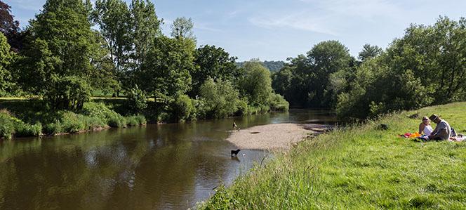 Picnickers by Breywardine Bridge near Haye-on-Wye