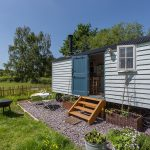 Close up view of Shepherds hut in Herefordshire in West Midlands in England